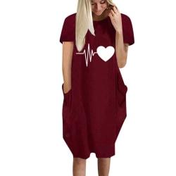 Women Heart Print Short Sleeve T-shirt Dress Valentines Day Wine Red M