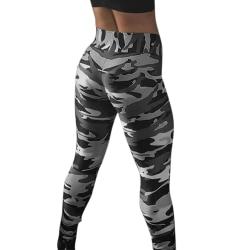 Kvinnor Hög midja Leggings Camo Yoga byxor byxor grå Grey XL
