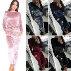 Women Hood Suit Vevet Outfit Suit Royal Blue L