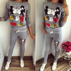 Women Kiss Mickey Mouse Cartoon Sport Home Overalls Grey S