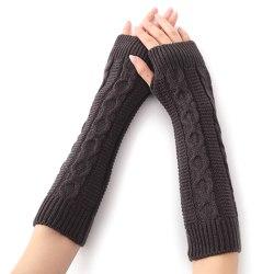 Women Knitted Winter Warm Sleeve Gloves Warm Hand Mitten Deep grey