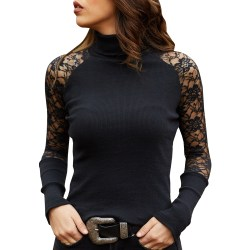 Women Lace Stitching Long Sleeeve Sexy External wear Winter black XL