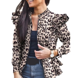 Women Ladies Ruffle Patchwork Print Long Sleeve Coat Zip Jacket White Leopard L
