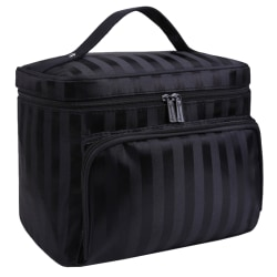Women Ladies Striped Zipper Portable Cosmetic Bag Handbags Black