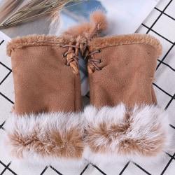 Women Ladies Winter Fur Fingerless Gloves Mittens Soft Warm Khaki