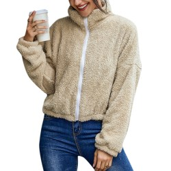 Women Ladies Winter Warm Zip Fluffly Coat Fleece Fur Jackets Beige XL