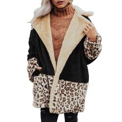 Women Leopard Plush Cardigan Color-matching Lapel Coats Winter Black M