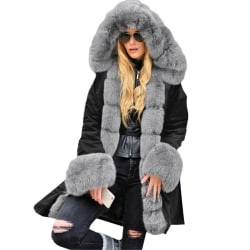 Women Long Parka Coat Ladies Plush Hooded  Jacket Outwear Black+Grey S