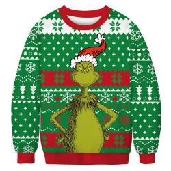 Women Long Sleeve Christmas Printed Pullover Casual Sweatshirt Grinch M