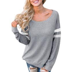 Women Long Sleeve Ladies Fashion Round Neck Sweatshirt Casual Gray XL