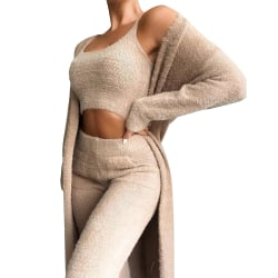 Women Lounge Wear Set Womens 3 Piece Tracksuits Cardigan Camel L