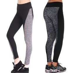 Women Mesh Splicing Leggings Tummy Control Workout Yoga Pants Grey M