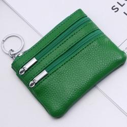 Kvinnor ren färg dragkedja Cion handväska äkta läder bärbar Green
