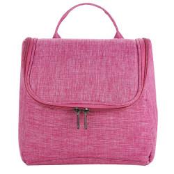 Women Pure Color Zipper Cosmetic Bag Small Storage Handbags Rose red