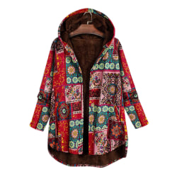 Women Retro Style Hooded Fleece Coat Winter Warm Jackets Red 3XL