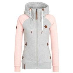 Women's Casual Zip Up Hoodies Coat Sweatshirt Long Sleeve Hooded Pink M