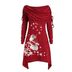 Women's Christmas Santa Claus Pullover Tops Long Sleeve Red L