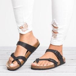 Kvinnors korkklack flip-flop sandaler damer Slip On skor svart 42
