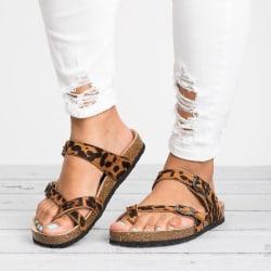 Kvinnors Korkklack Flip Flop Sandaler Damer Slip På Skor Leopard