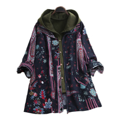 Women's Retro Hooded Vest Floral Coat Set Winter Jacket Coats Navy Blue L