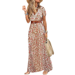 Women's Summer V-neck Boho Belted Long Dress Red 2XL