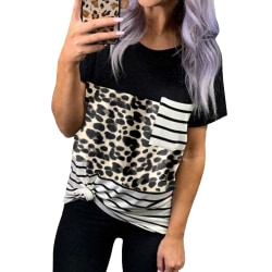 Kvinnor kortärmad T-shirt Sommar Casual Top Leopard