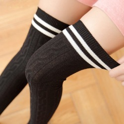 Women Striped Over The Knee Thigh High Stockings Long Socks # 1-Black