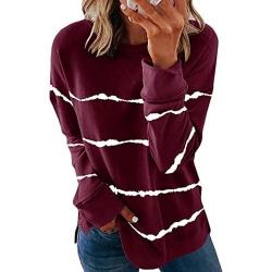 Women Striped Print Long Sleeve Ladies Round Neck Sweatshirt Wine Red XL
