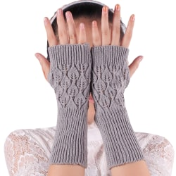 Women Warm Winter Arm Warmer Knitted Long Fingerless Mittens Light grey