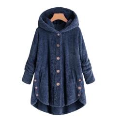 Women Winter Fleece Warm Button Cotton Coat Jackets Irregular Navy blue 2XL
