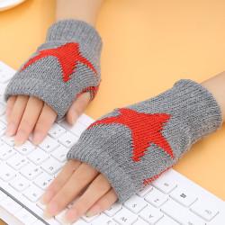 Women Winter Half Finger Gloves Arm Hand Warmer Knitted Mittens Grey