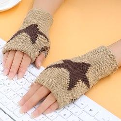 Women Winter Half Finger Gloves Arm Hand Warmer Knitted Mittens Khaki