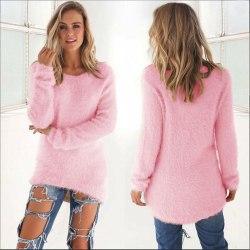 Women Winter Warm Plush Sweater Solid Casual Irregular Fur Top pink XL