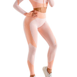 Women Yoga Pants Leggings High Waist Tummy Control Workout Pants Pink L