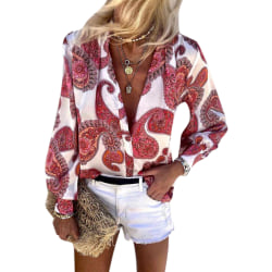 Womens Floral Print Long Sleeve Buttons Shirts Holiday Casual Red 2XL