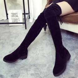 Womens Ladies Over the Knee High Flat black 36