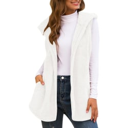Womens Ladies Warm Fashion Solid Hooded Vest Coats Outdoor White L