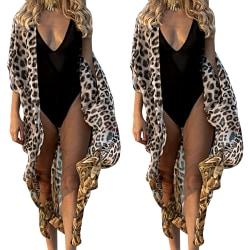 Leopard Beach-blusar för kvinnor Kimono Cardigan Long Cover Up