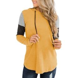 Kvinnors långärmade luvtröjor med lösa skjortor Blus Damtopp Yellow M