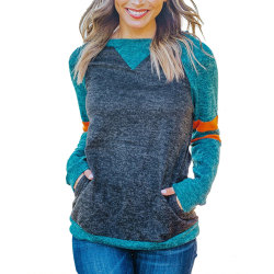 Womens Long Sleeve Sweatshirt Ladies Crew Neck Casual Loose Blue L