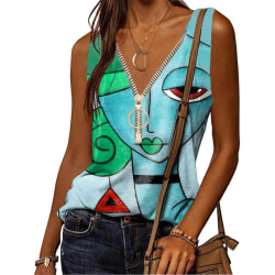 Kvinnors ärmlösa dragkedja V-ringning Cami Tank Tops T-tröjor
