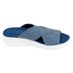 Kvinnors sommar Cross Slide Sandaler Casual Bekväma skor Blå Blue 37