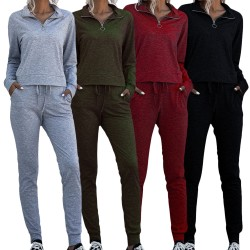 Zipper Stand Neck Women Tracksuit 2 Set Tops with Sweat Pants Red XL