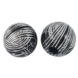Akrylpärlor 11mm, svart/silver 11 mm