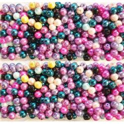 Glaspärlor 8mm flower garden, ca 50st flerfärgad 8 mm