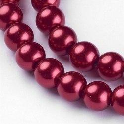 Glaspärlor 8mm mörkröda, 50st röd 8 mm
