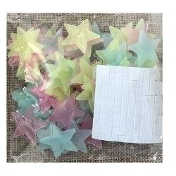 100-pack 3 cm Glow In The Dark Stars/Självlysande Stjärnor (fler multifärg
