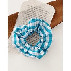 Hårsnodd Checked Scrunchie (blå)