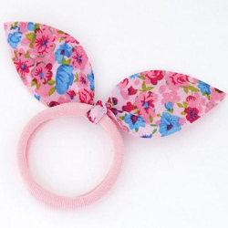 Hårsnodd med Liten Rosett  (rosa/blå) Pink one size