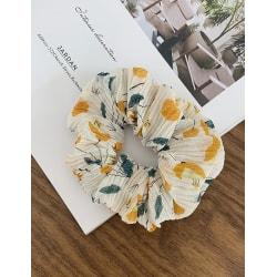 Hårsnodd Pleated Floral Scrunchie (vit/gul/grön)